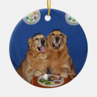 Ornamento De Cerâmica Placa de Seder do Passover do golden retriever