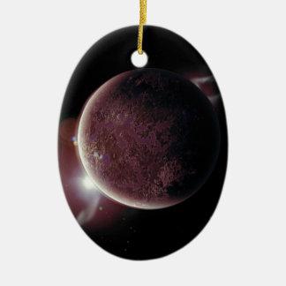 Ornamento De Cerâmica planeta vermelho no universo com aura e estrelas