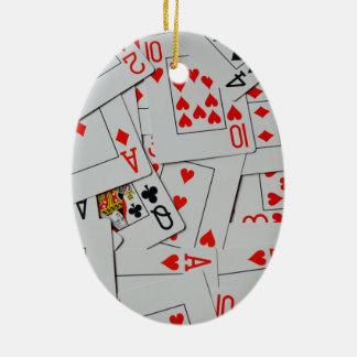 Ornamento De Cerâmica Plataforma do teste padrão dos cartões de jogo do