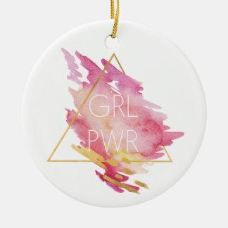 Ornamento De Cerâmica Poder da menina no rosa & no ouro - aguarela