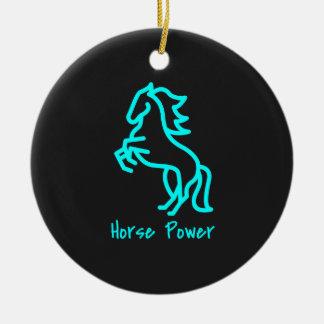 Ornamento De Cerâmica Poder de cavalo no azul