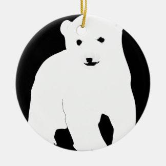 Ornamento De Cerâmica PolarBearCubBlackSF