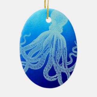 Ornamento De Cerâmica Polvo gigante do vintage no oceano azul profundo