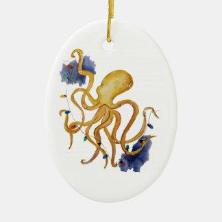 Ornamento De Cerâmica Polvo náutico do Natal com luz feericamente da
