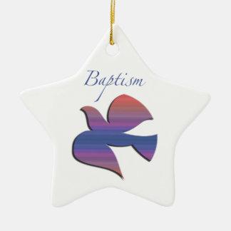 Ornamento De Cerâmica Pomba customizável, adulta do baptismo