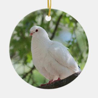 Ornamento De Cerâmica Pomba do branco