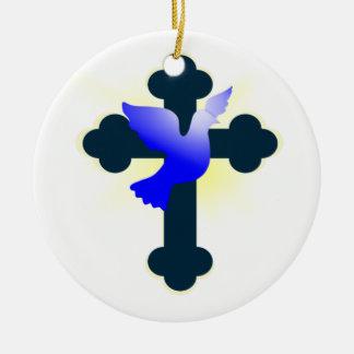 Ornamento De Cerâmica Pomba e cruz