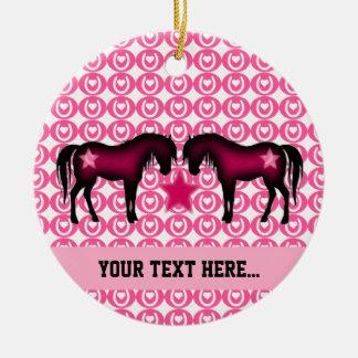 Ornamento De Cerâmica Pônei cor-de-rosa personalizado
