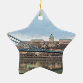 Ornamento De Cerâmica Ponte Chain com castelo Hungria Budapest de Buda