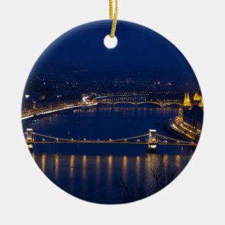 Ornamento De Cerâmica Ponte Chain Hungria Budapest na noite