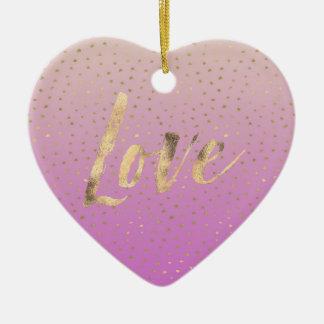 Ornamento De Cerâmica Pontos cor-de-rosa dos confetes de Ombre do ouro