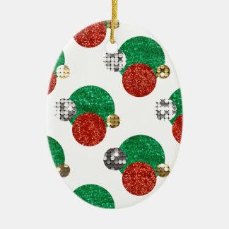 Ornamento De Cerâmica pontos do Natal do sequin