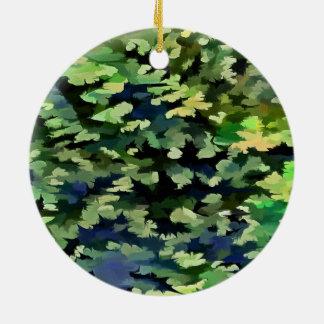 Ornamento De Cerâmica Pop art abstrato da folha em verde e no azul