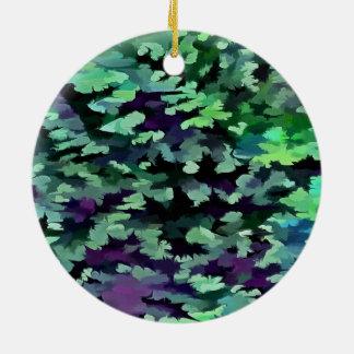 Ornamento De Cerâmica Pop art abstrato da folha no verde e no roxo de