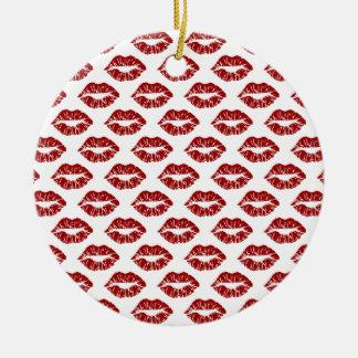 Ornamento De Cerâmica Pop art: Beijos vermelhos do batom