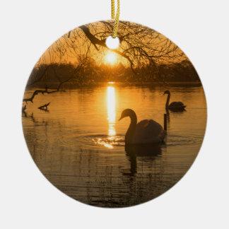 Ornamento De Cerâmica Por do sol com cisne