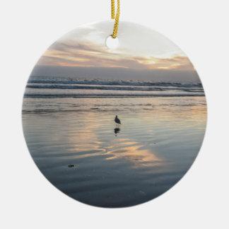 Ornamento De Cerâmica Por do sol da gaivota -