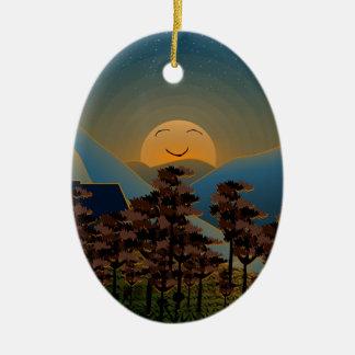 Ornamento De Cerâmica Por do sol da paisagem