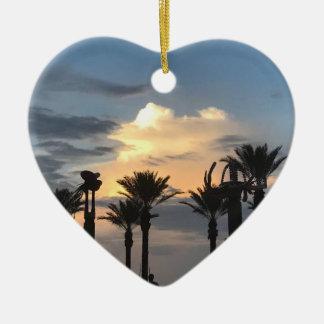 Ornamento De Cerâmica Por do sol da palmeira