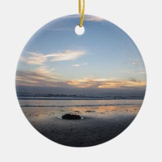 Ornamento De Cerâmica Por do sol da praia -