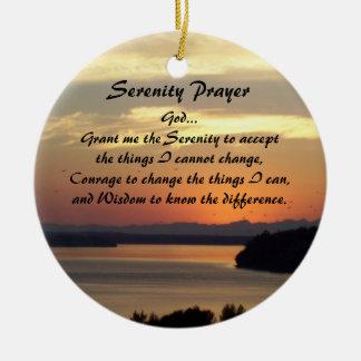 Ornamento De Cerâmica Por do sol do Seascape da oração da serenidade