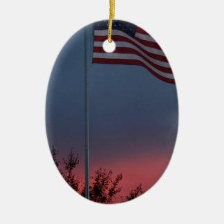 Ornamento De Cerâmica Por do sol e bandeira de Tennessee