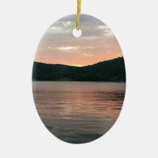 Ornamento De Cerâmica Por do sol na água