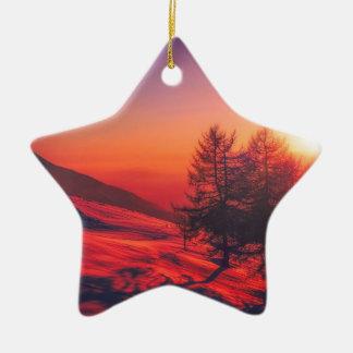Ornamento De Cerâmica Por do sol nevado da noite
