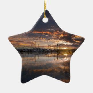 Ornamento De Cerâmica Por do sol no porto em Anacortes em Washington EUA