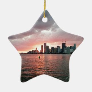 Ornamento De Cerâmica Por do sol sobre Miami