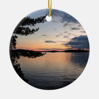 Ornamento De Cerâmica Por do sol sobre o lago Maine Millinocket da ilha