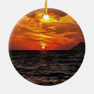 Ornamento De Cerâmica Por do sol sobre o mar Mediterrâneo