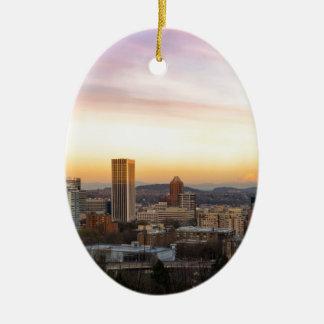 Ornamento De Cerâmica Por do sol sobre Portland OU arquitectura da