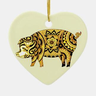 Ornamento De Cerâmica Porco