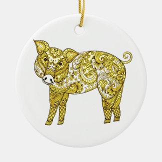Ornamento De Cerâmica Porco 2