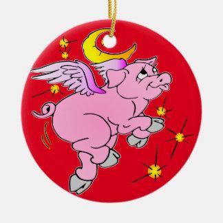 Ornamento De Cerâmica Porco cor-de-rosa #003 do vôo