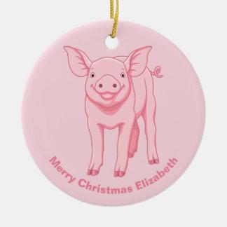 Ornamento De Cerâmica Porco cor-de-rosa bonito do bebê