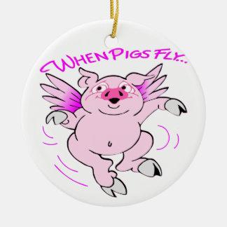 Ornamento De Cerâmica Porco cor-de-rosa do vôo quando os porcos voarem
