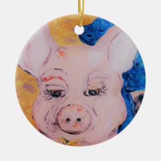 Ornamento De Cerâmica Porco da fita azul