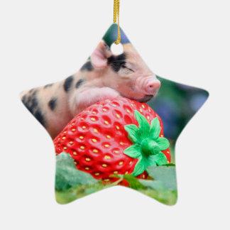 Ornamento De Cerâmica porco da morango
