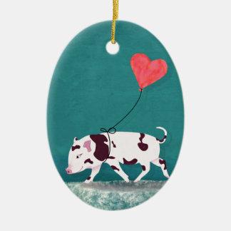 Ornamento De Cerâmica Porco do bebê com balão do coração