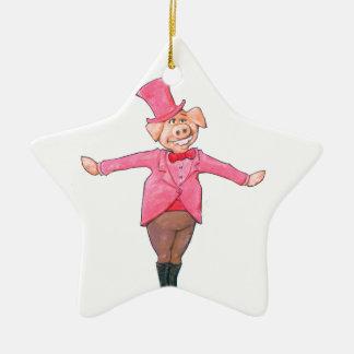 Ornamento De Cerâmica Porco em um chapéu alto