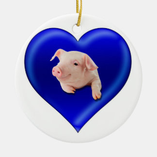 Ornamento De Cerâmica Porco em um coração
