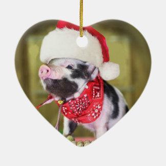 Ornamento De Cerâmica Porco Papai Noel - porco do Natal - leitão