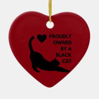 Ornamento De Cerâmica Possuído orgulhosa por um gato preto