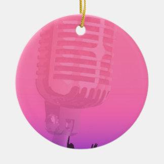 Ornamento De Cerâmica Poster da audiência da noite do karaoke