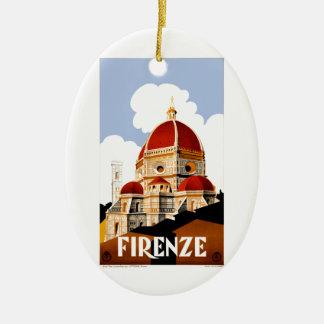 Ornamento De Cerâmica Poster de viagens 1930 de Florença Italia