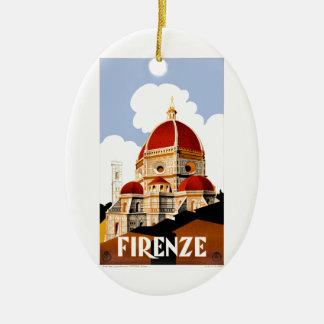 Ornamento De Cerâmica Poster de viagens 1930 do domo de Florença Italia