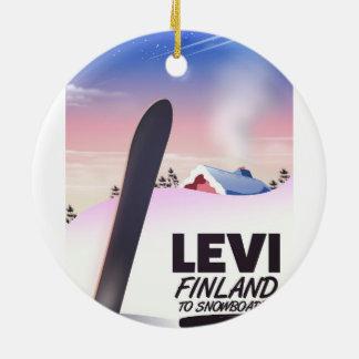 Ornamento De Cerâmica Poster de viagens da snowboarding de Levi