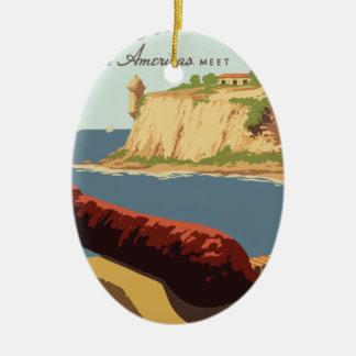 Ornamento De Cerâmica Poster Puerto Rico das viagens vintage